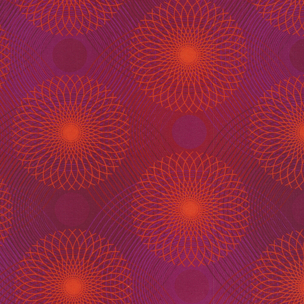Purple fabric with bright orange rings and wavy lines all over