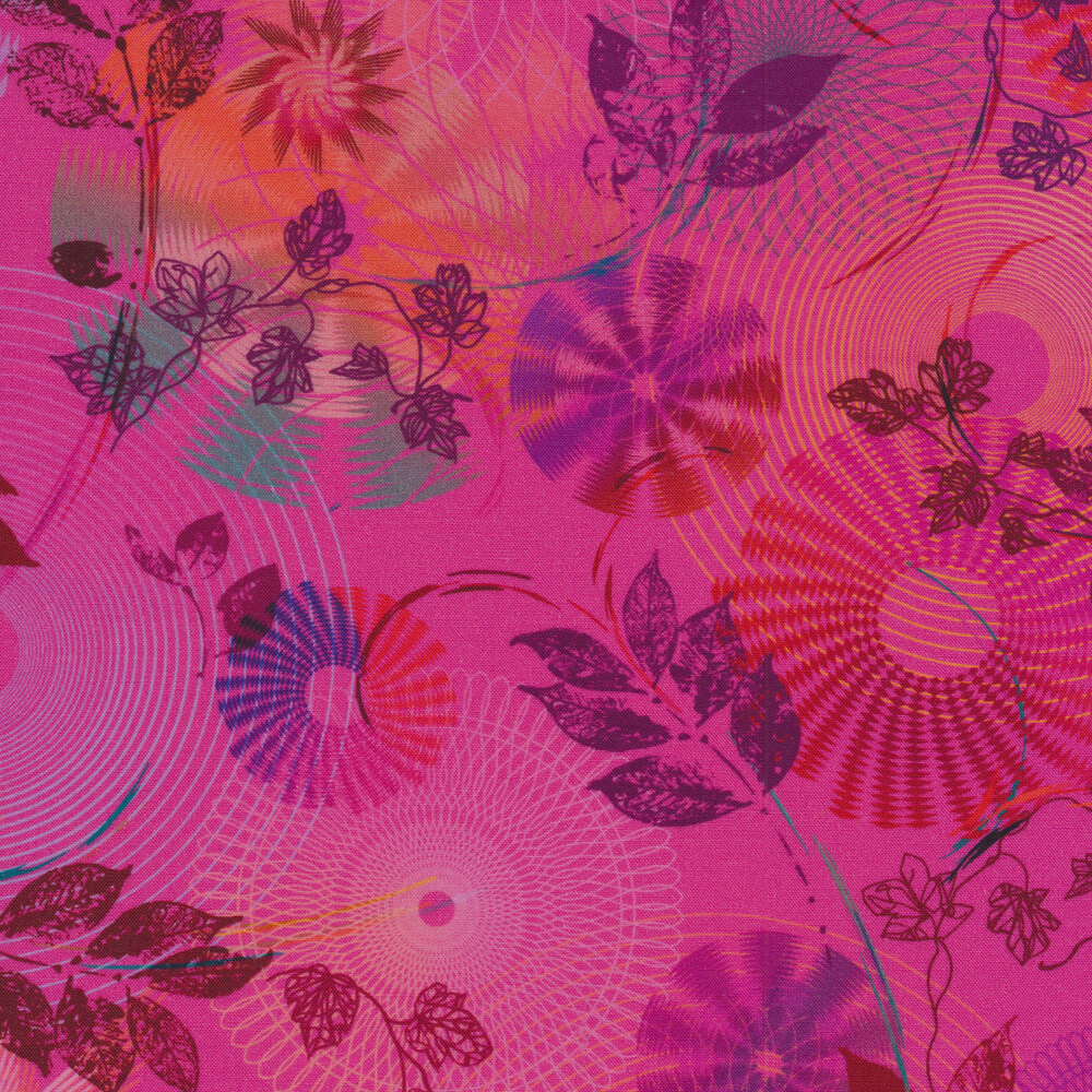 Swirls, scrolls, rings and fans with leaves and vines on a bright hot pink background