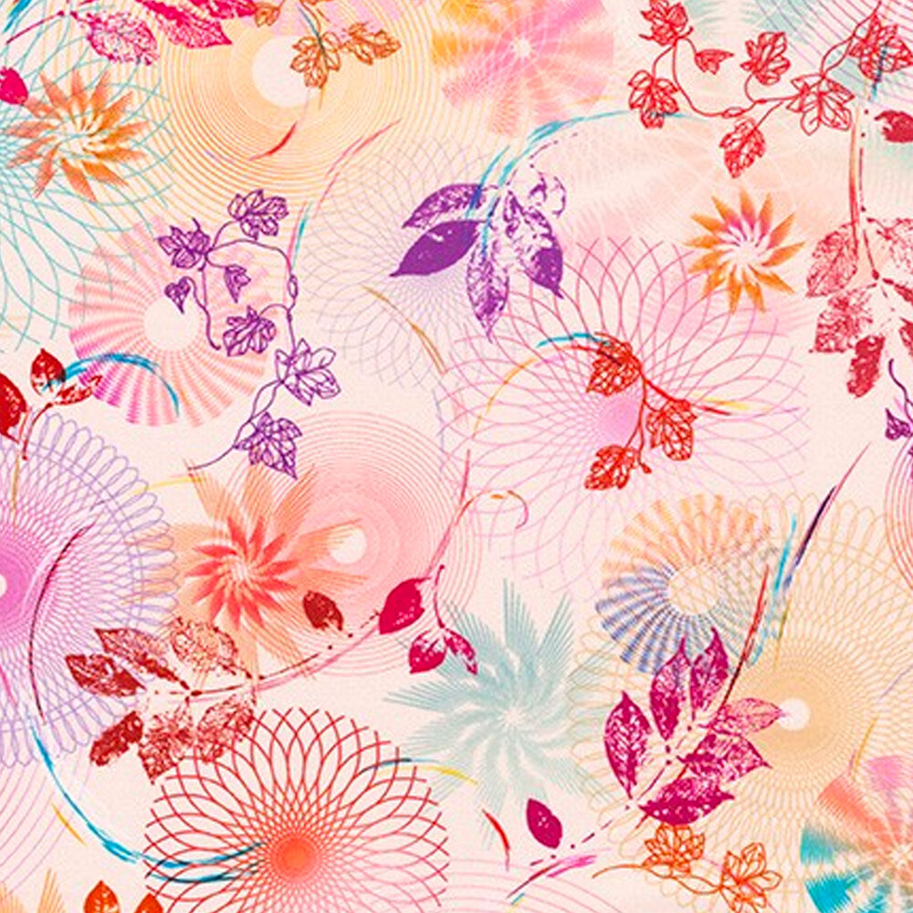Swirls, scrolls, rings and fans with leaves and vines on a light peach background