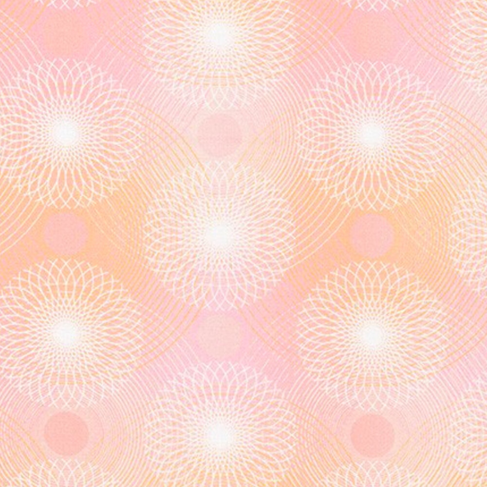 Light pink colored fabric with white rings and wavy lines all over