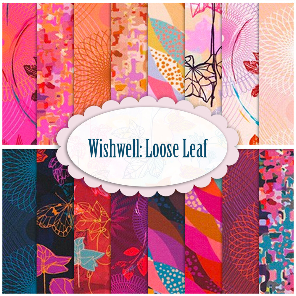 A collage of fabrics included in the Wishwell: Loose Leaf collection