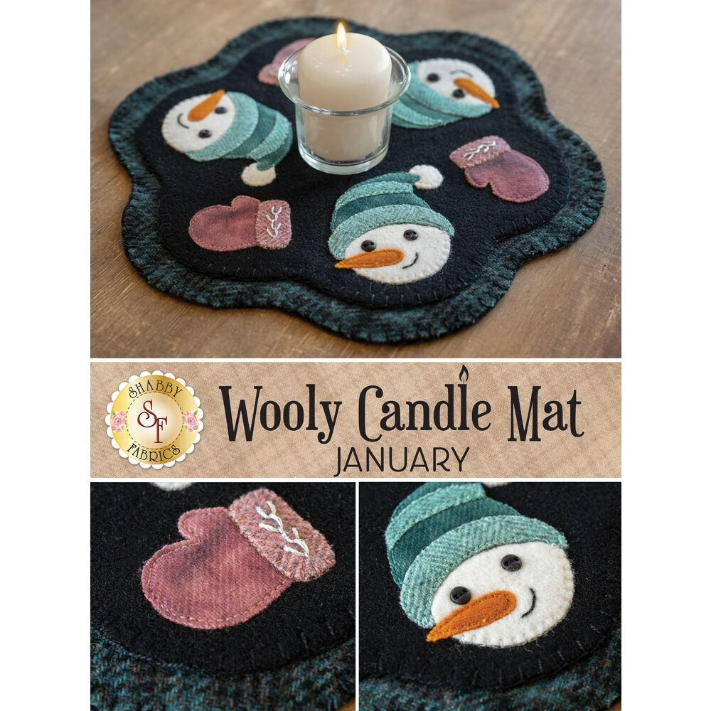 Small wool mat with snowmen, winter mittens, and scallops with a small candle on top