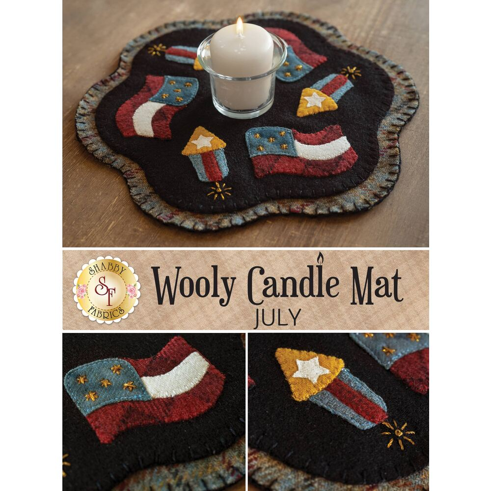 Scalloped wool mat with darling little fireworks and American flags