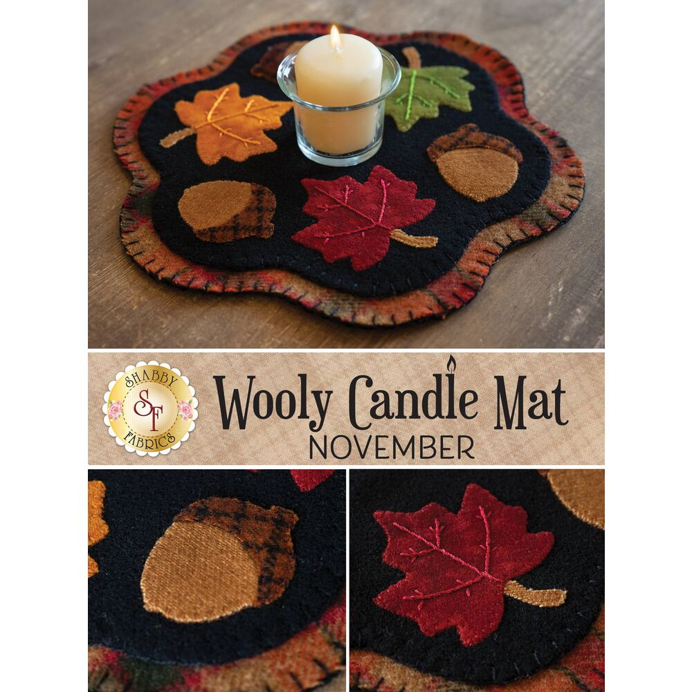 A collage of the November wool candle mat