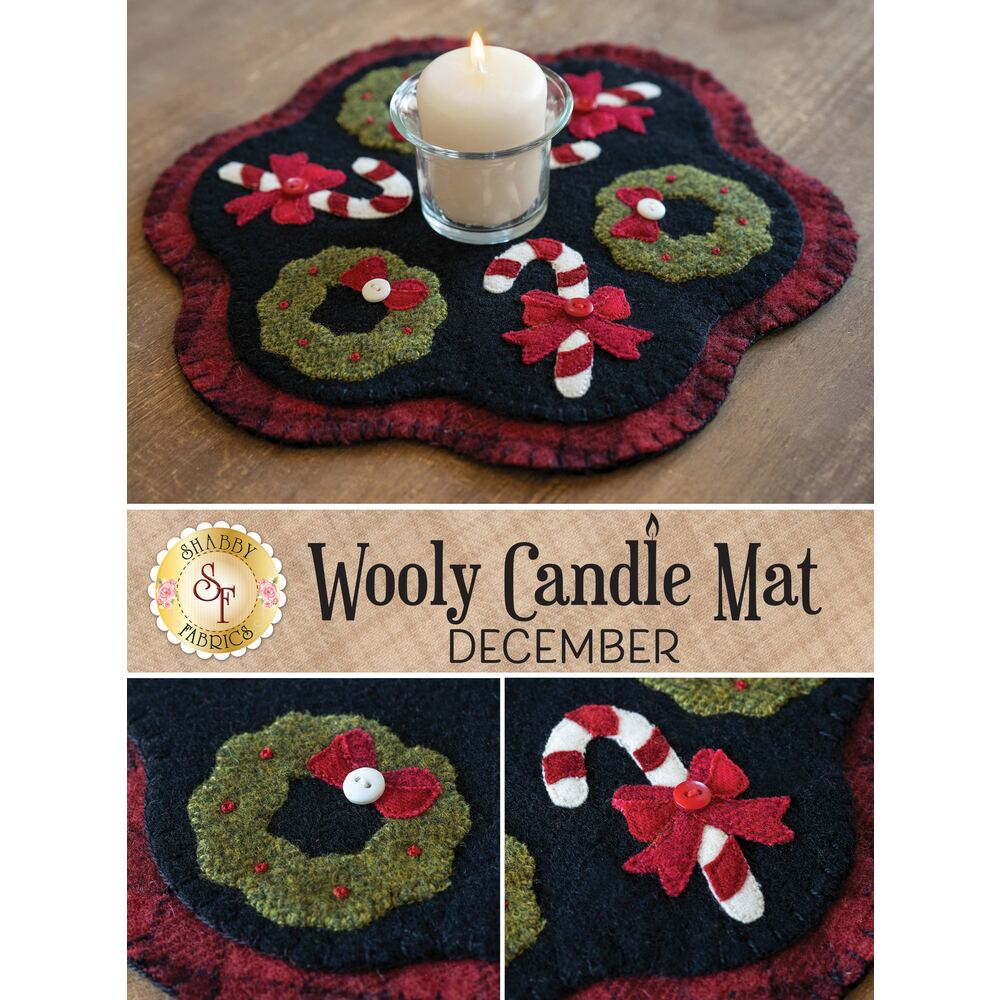 A collage showing the December Wooly Candle Mat