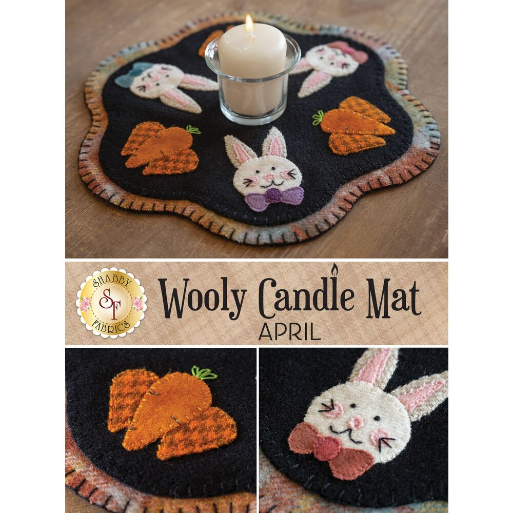A collage of the adorable April Wooly Candle Mat with a small candle on top