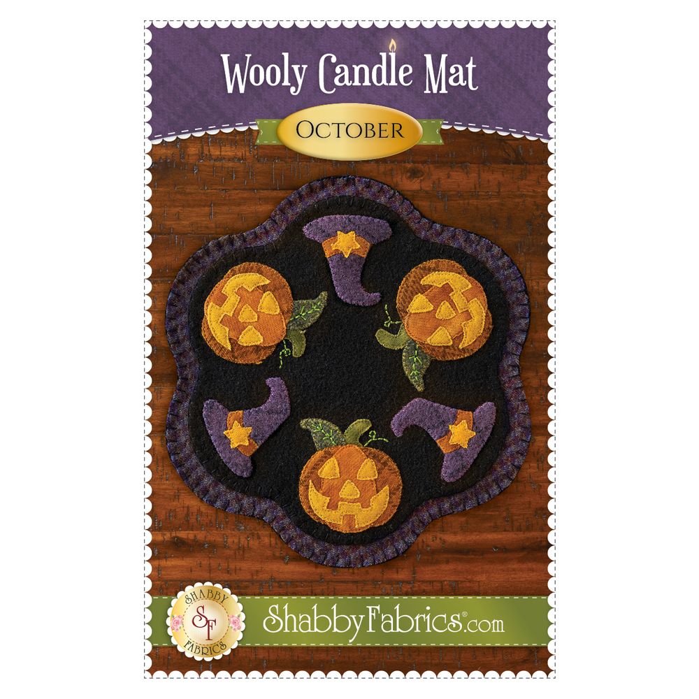 The front of the Wooly Candle Mat - October - Pattern showing the finished candle mat