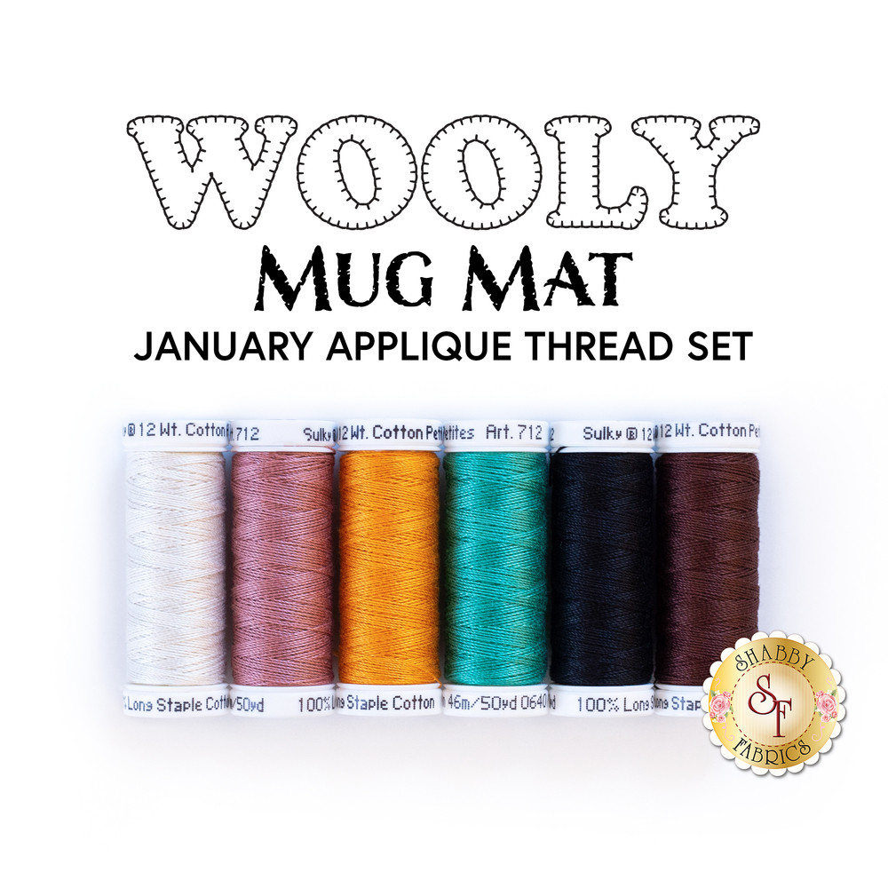 6pc Applique Thread Set for Wooly Mug Mat Series - January