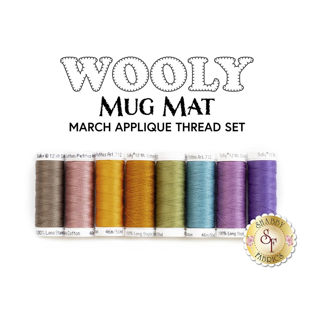 Wooly Mug Mats - 8 pc Appliqué Thread Set - March | Shabby Fabrics