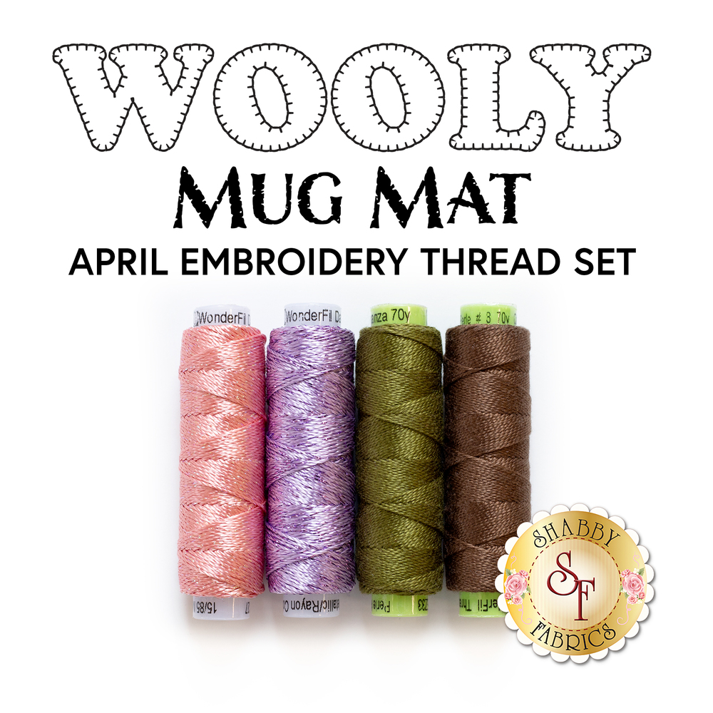 Wooly Mug Mat - 4 pc Embroidery Thread Set - April | Shabby Fabrics