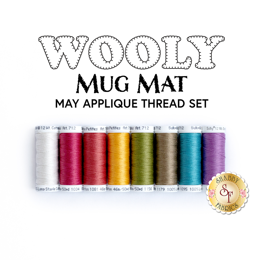 Wooly Mug Mat - 8 pc Applique Thread Set - May available at Shabby Fabrics