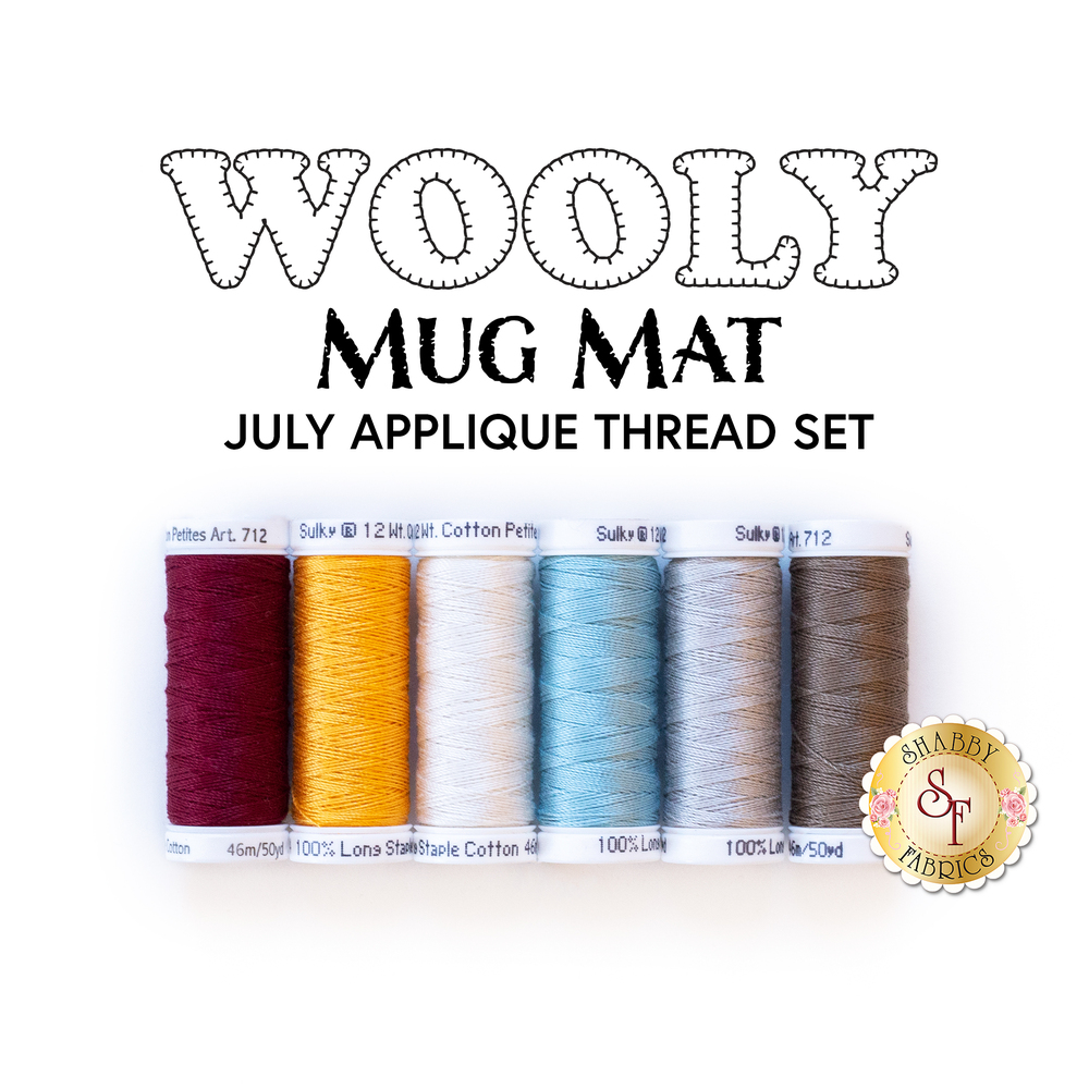 The 6 pc Applique Thread Set that coordinate with the Wooly Mug Mat - July