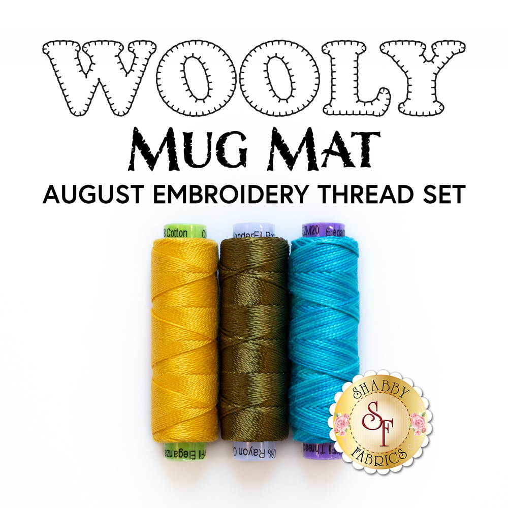 The 3 threads included in the Wooly Mug Mat - August - Embroidery Thread Set