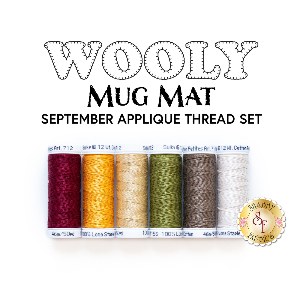 The 6 applique threads included in the Wooly Mug Mat Series - September - Applique Thread Set