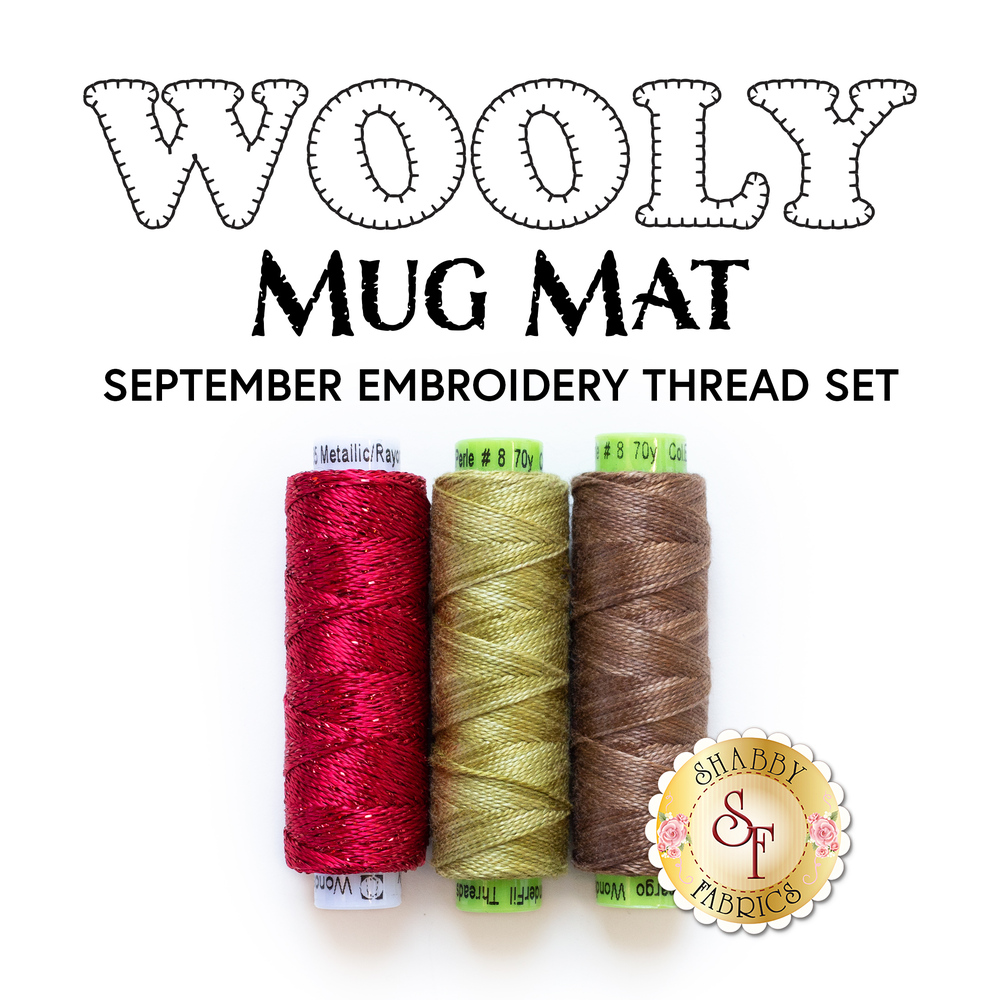 The 3 threads included in the Wooly Mug Mat - September - Embroidery Thread Set