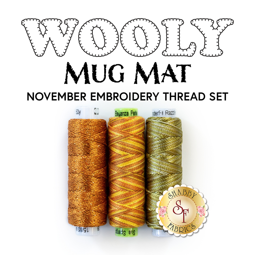 The 3 piece Embroidery Thread Set for the Wooly Mug Mat Series - November | Shabby Fabrics