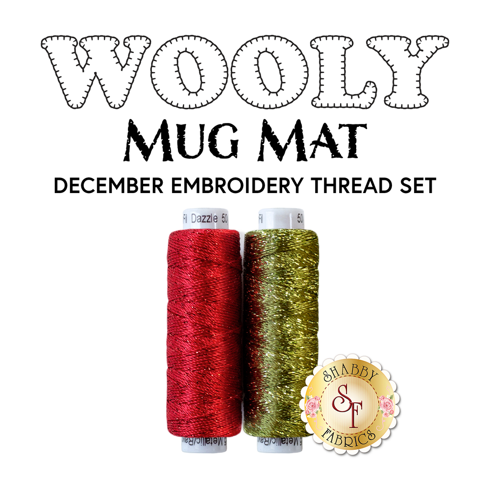 2pc Embroidery Thread Set for Wooly Mug Mat Series - December