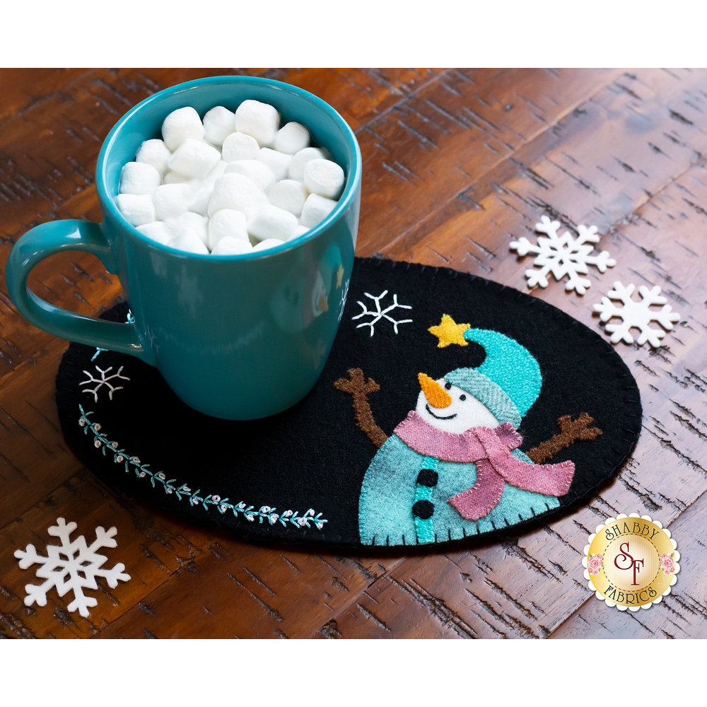 Snowman mug mat with mug resting on top| Shabby Fabrics