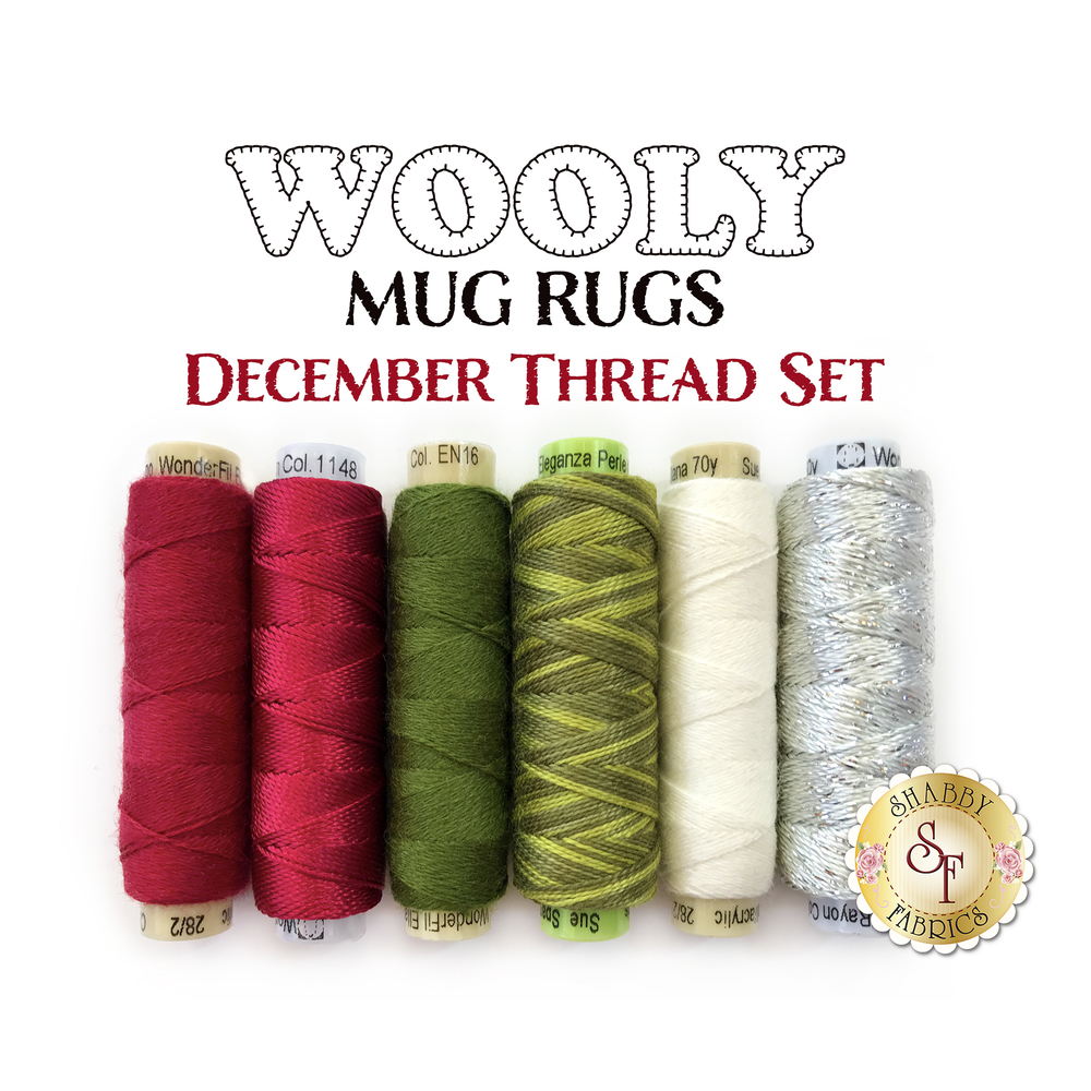 Wooly Mug Rug Series - December Thread Set - 6pc available at Shabby Fabrics