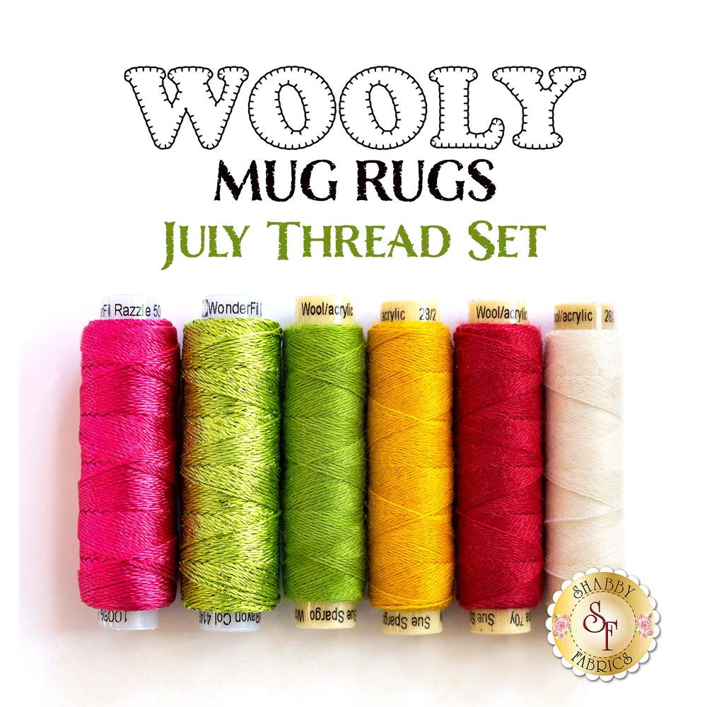 Wooly Mug Rug Series - July - 6 pc Thread Set