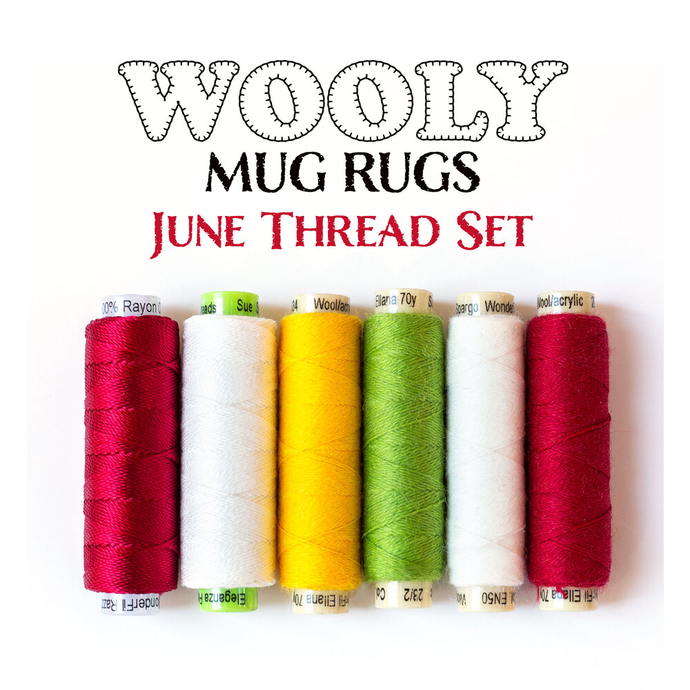 Wooly Mug Rug Series - June Thread Set - 6pc