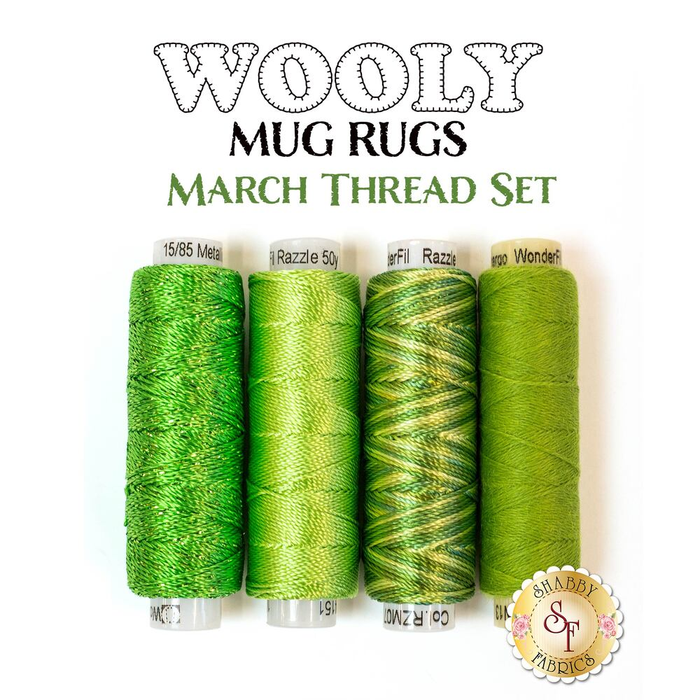 Wooly Mug Rug Series - March Thread Set - 4pc