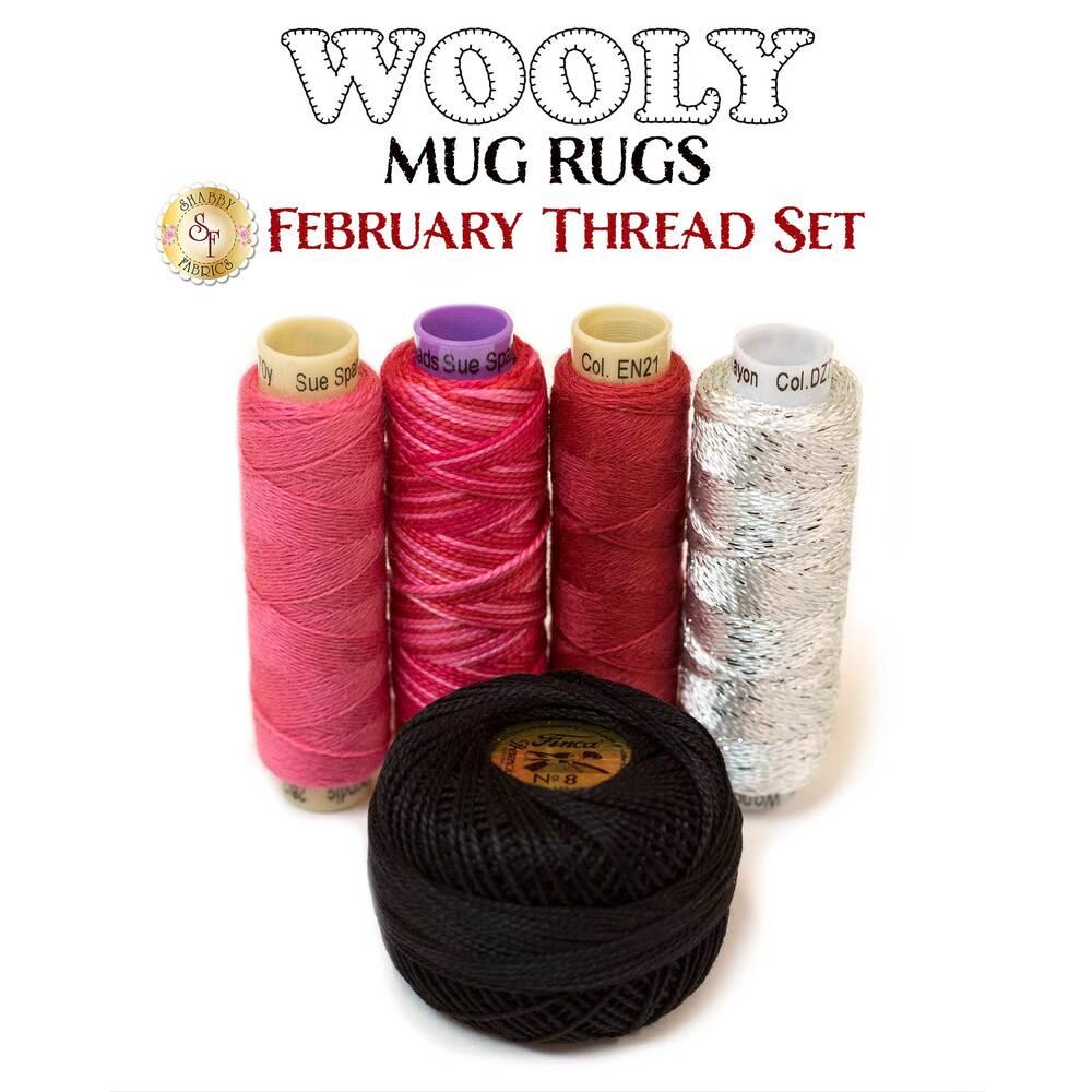 Wooly Mug Rug Series - February Thread Set - 5pc