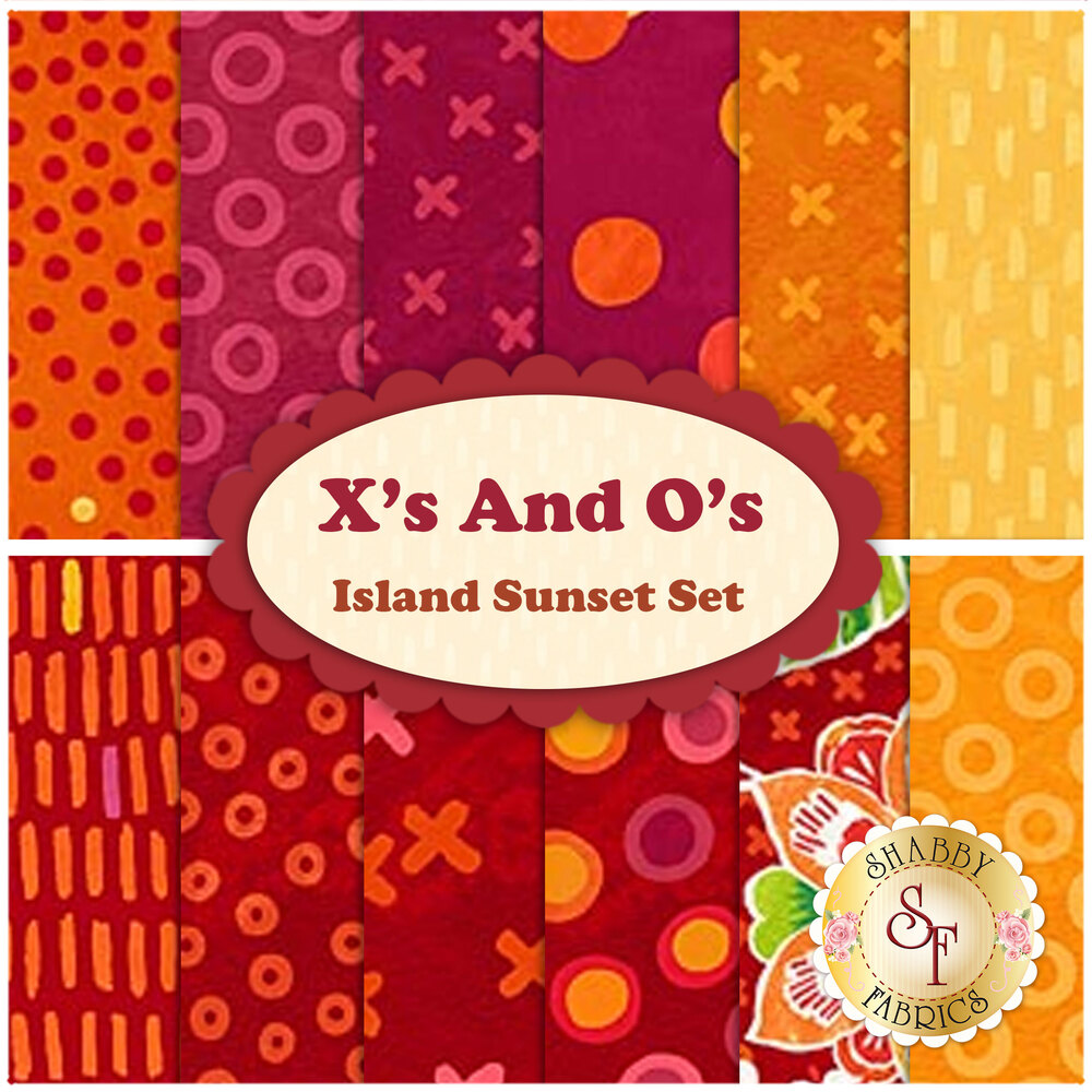 X's And O's  12 FQ Set - Island Sunset Set by Northcott Fabrics