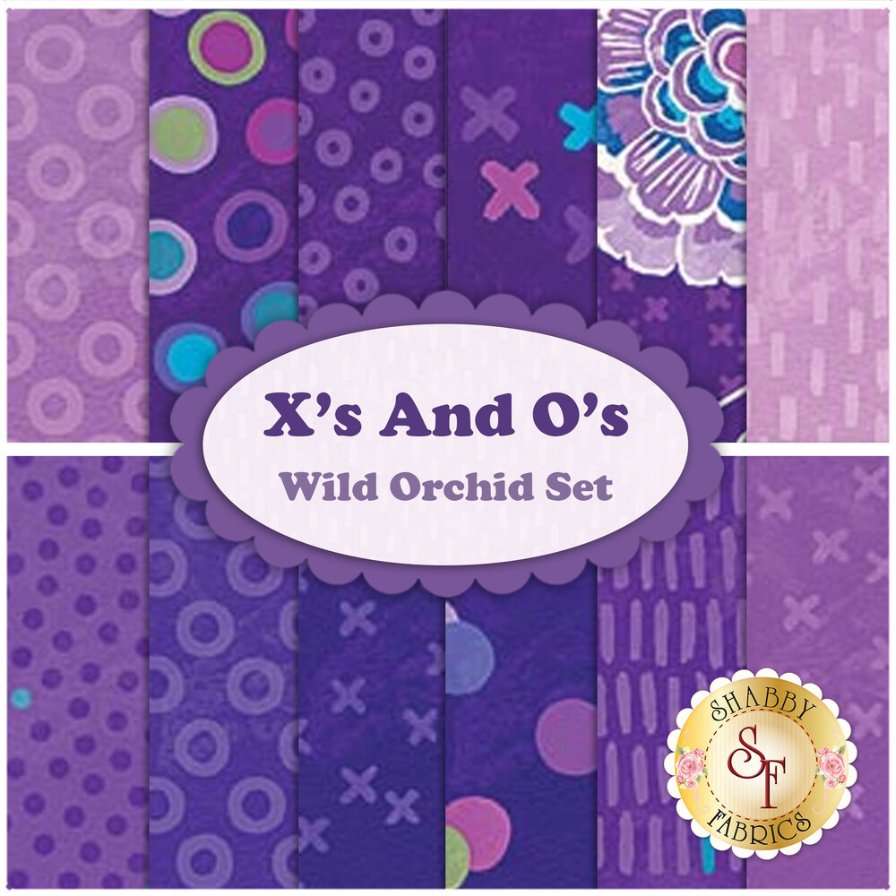 X's And O's  12 FQ Set - Wild Orchid Set by Northcott Fabrics