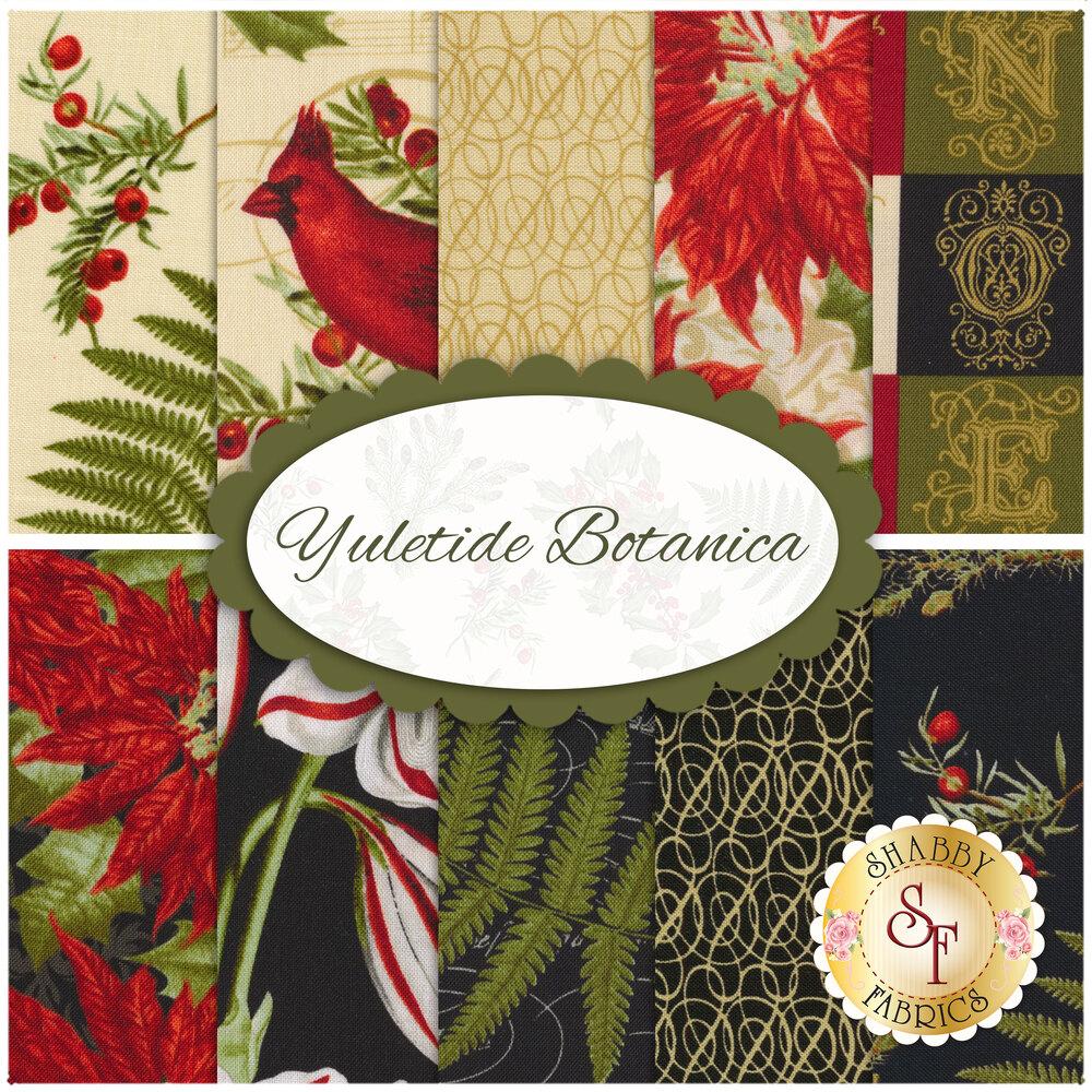 Collage of fabrics included in Yuletide Botanica set   Shabby Fabrics
