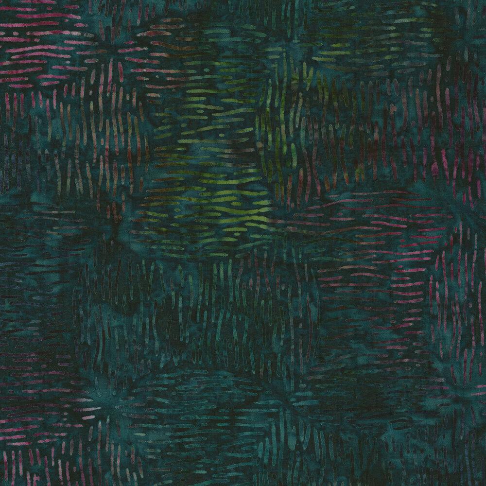 Texted green batik | Shabby Fabrics