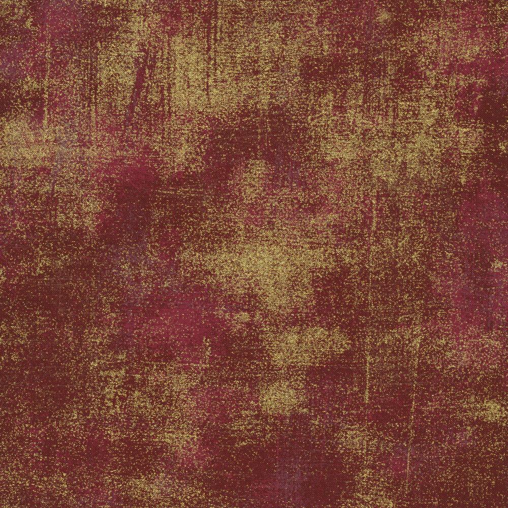 Burgundy textured fabric with metallic gold | Shabby Fabrics