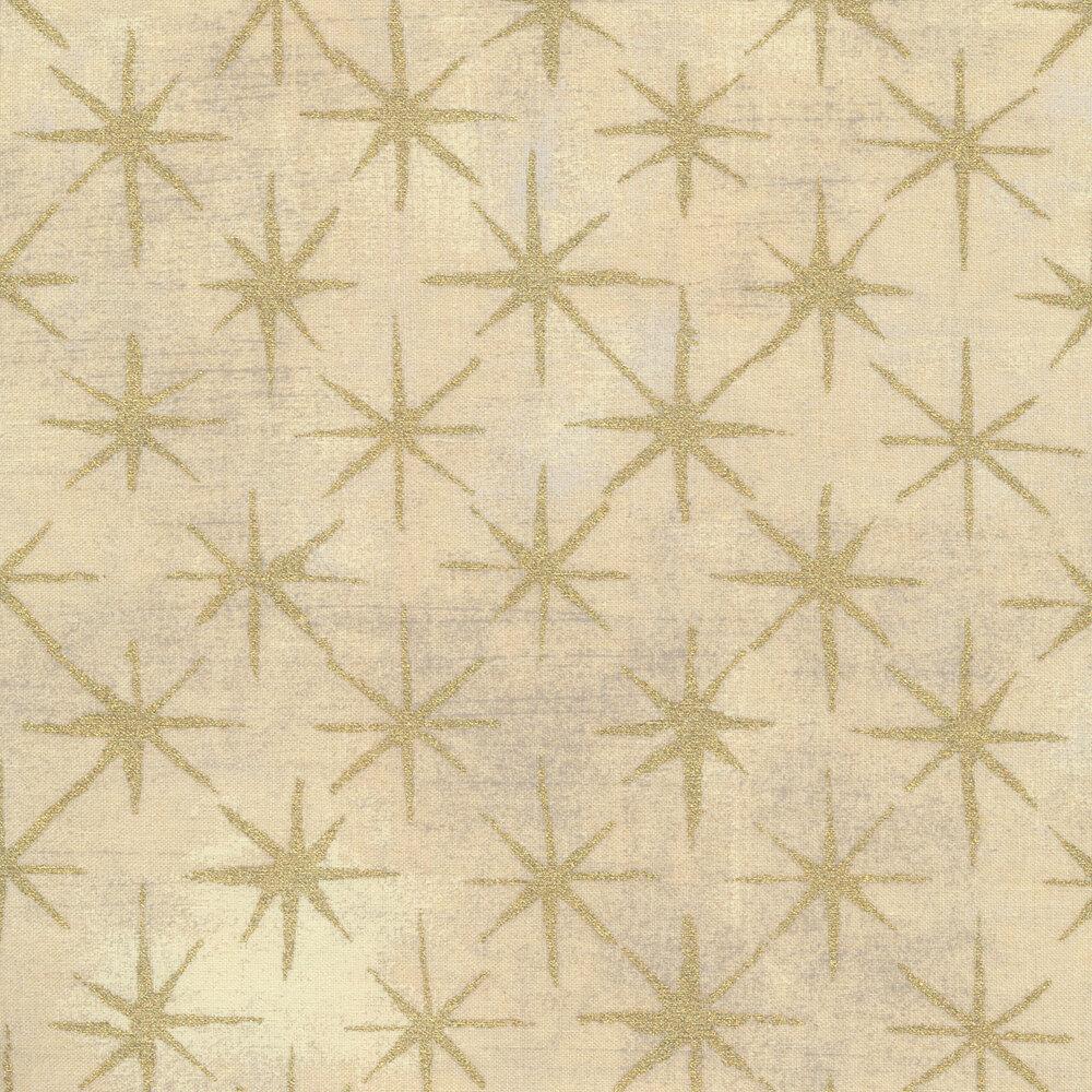Gold stars on textured cream   Shabby Fabrics