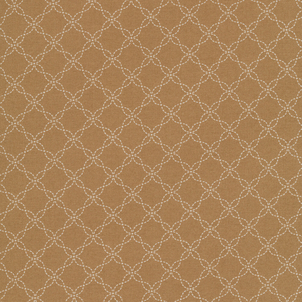White lattice design on brown | Shabby Fabrics