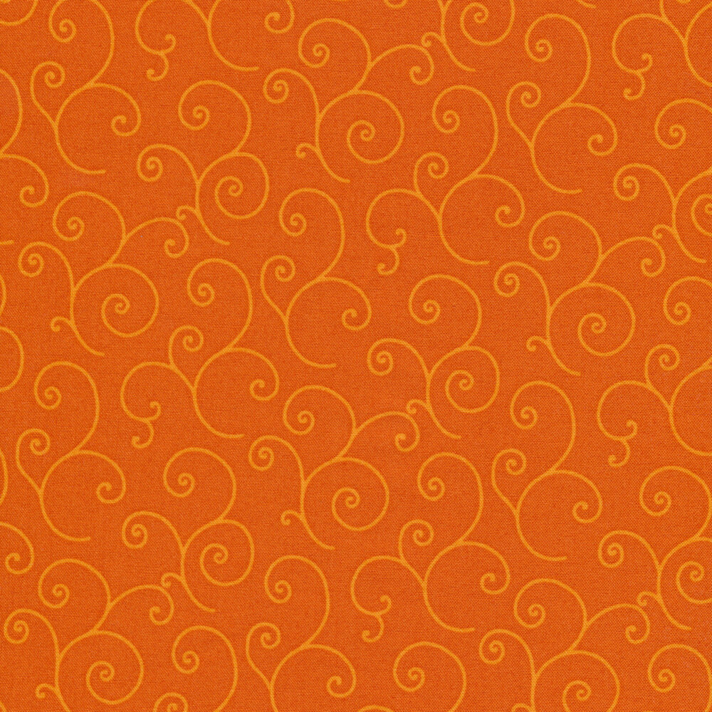 Tonal orange scrolls on orange | Shabby Fabrics