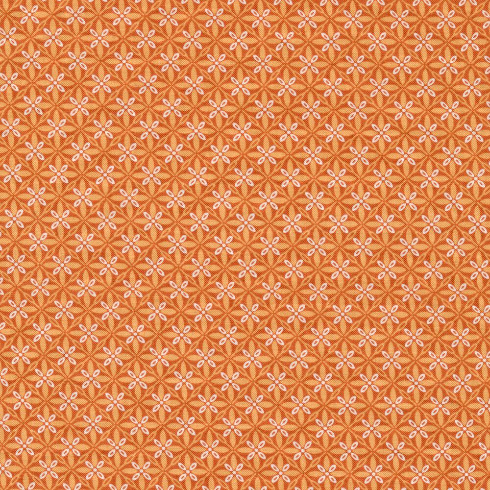 Tonal orange geometric star design | Shabby Fabrics