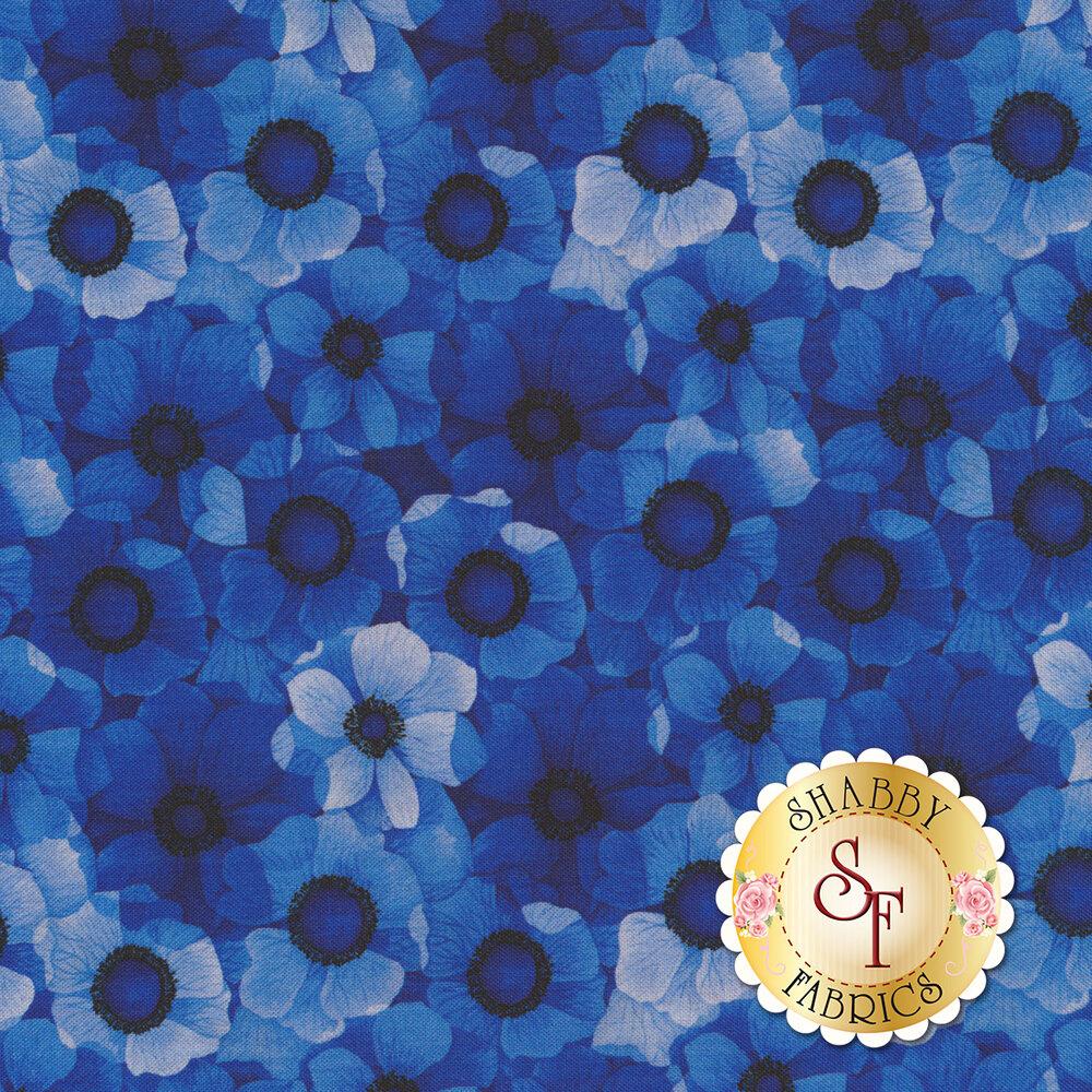 Repeating blue tonal flowers | Shabby Fabrics