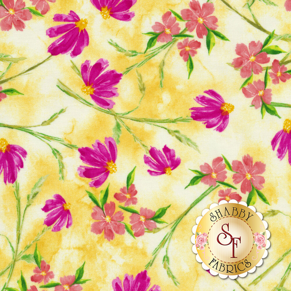 Bloom True 10503-533 Tossed Floral Yellow from Wilmington Prints by Charlotte Grace