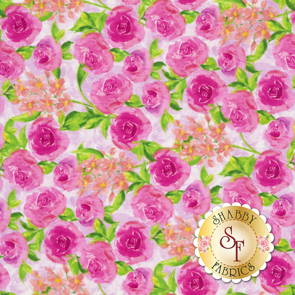 Bloom True 10504-333 Packed Floral Pink from Wilmington Prints by Charlotte Grace