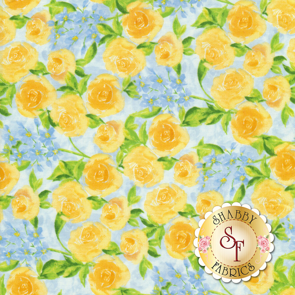 Bloom True 10504-454 Packed Floral Blue from Wilmington Prints by Charlotte Grace