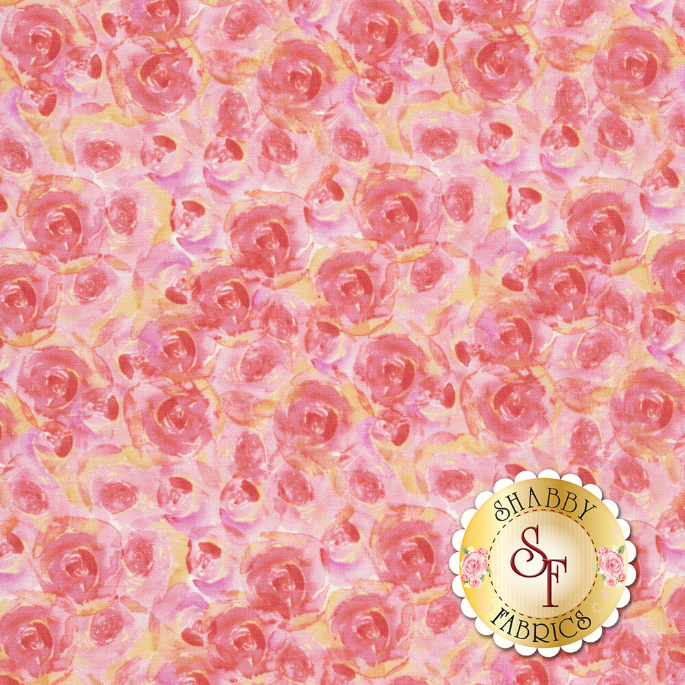Bloom True 10506-335 Watercolor Roses Pink from Wilmington Prints by Charlotte Grace