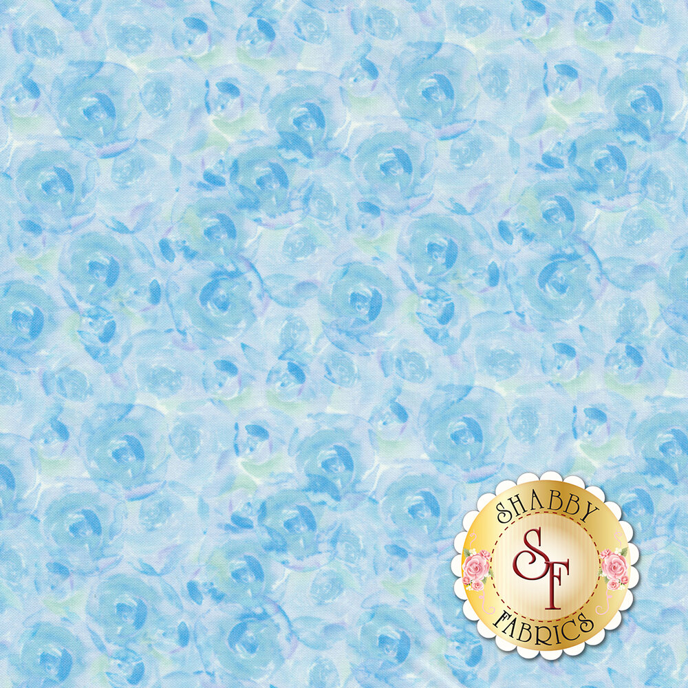 Bloom True 10506-444 Watercolor Roses Blue from Wilmington Prints by Charlotte Grace