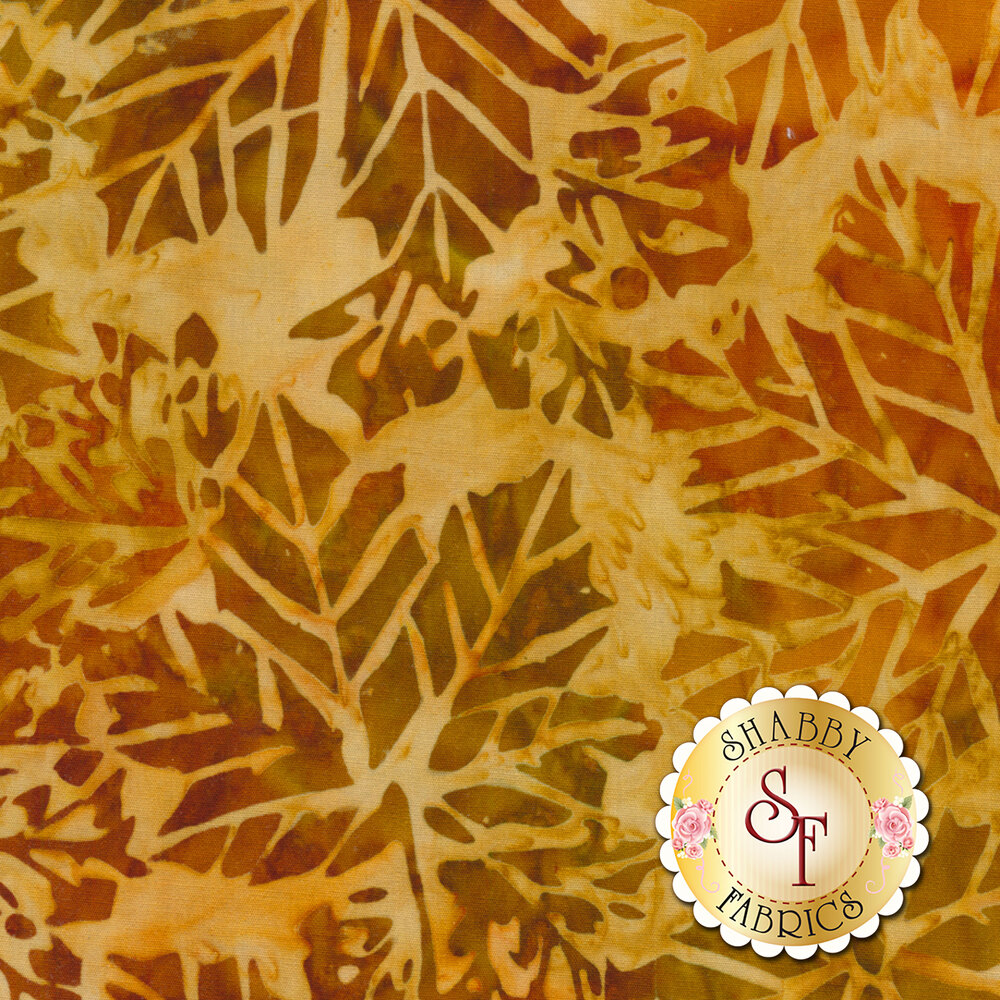 Yellow batik fabric with autumn leaves | Shabby Fabrics