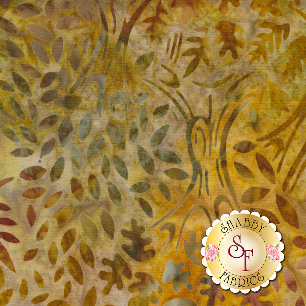 Brown tonal batik with trees and autumn leaves | Shabby Fabrics