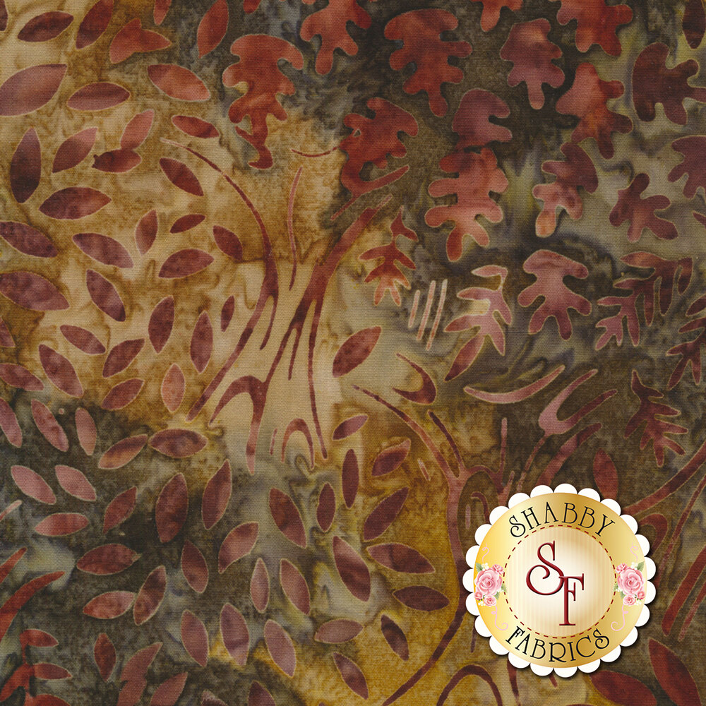 Brown mottled batik with trees and autumn leaves | Shabby Fabrics
