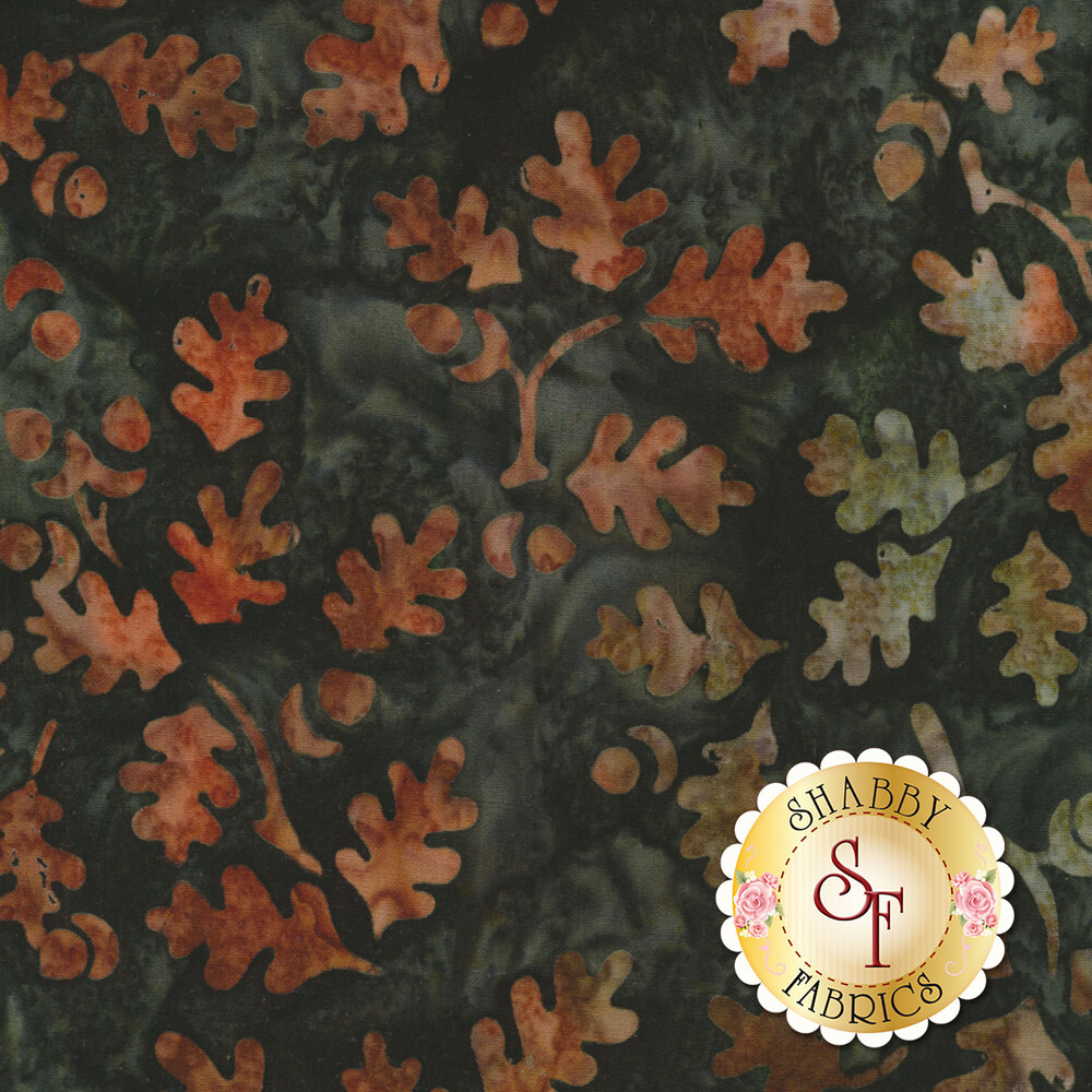 Teal mottled batik with tossed autumn leaves | Shabby Fabrics