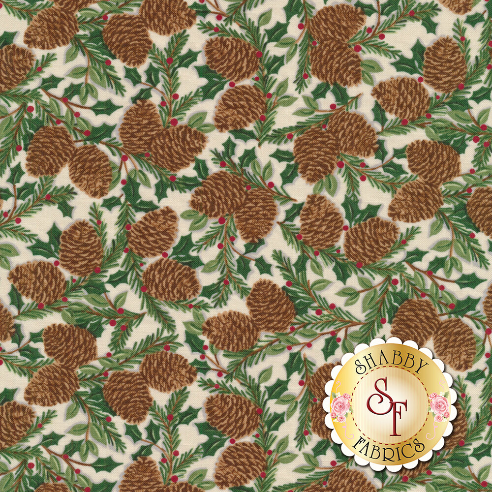 Tossed pine cones and holly on a cream background | Shabby Fabrics