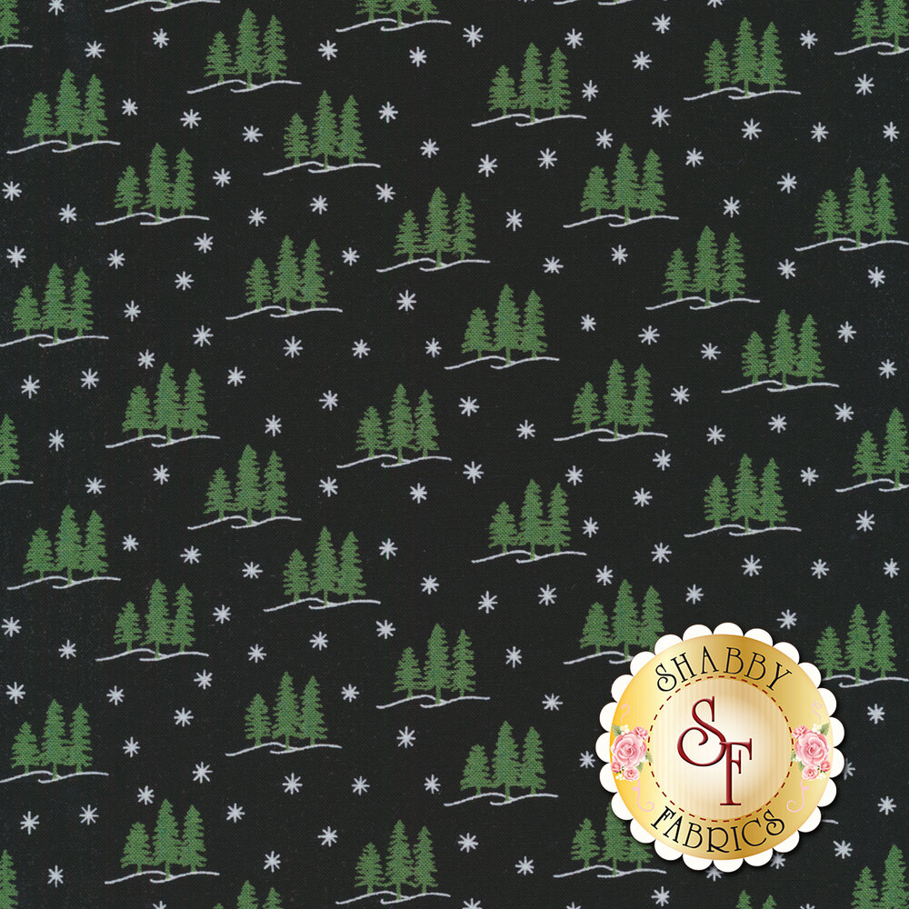 A solid black fabric with white snowflakes and green trees on the outline of a small hill