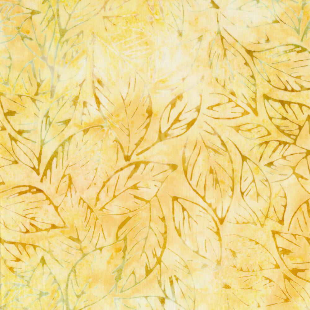 Yellow tossed leaf batik | Shabby Fabrics