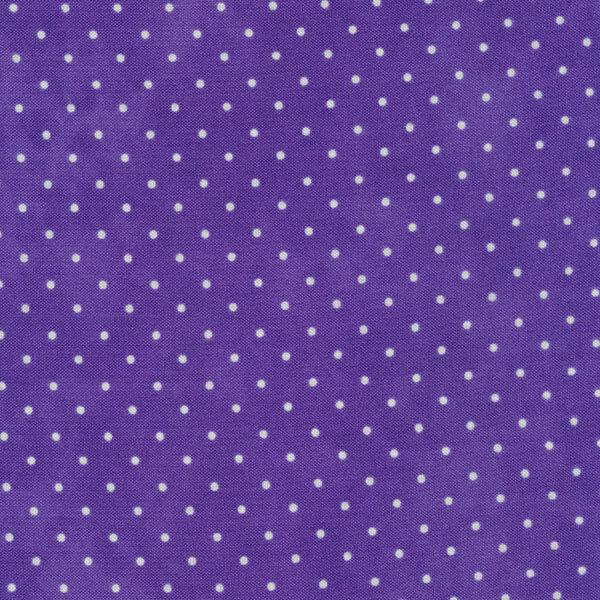 Small white polka dots on a dark purple mottled print